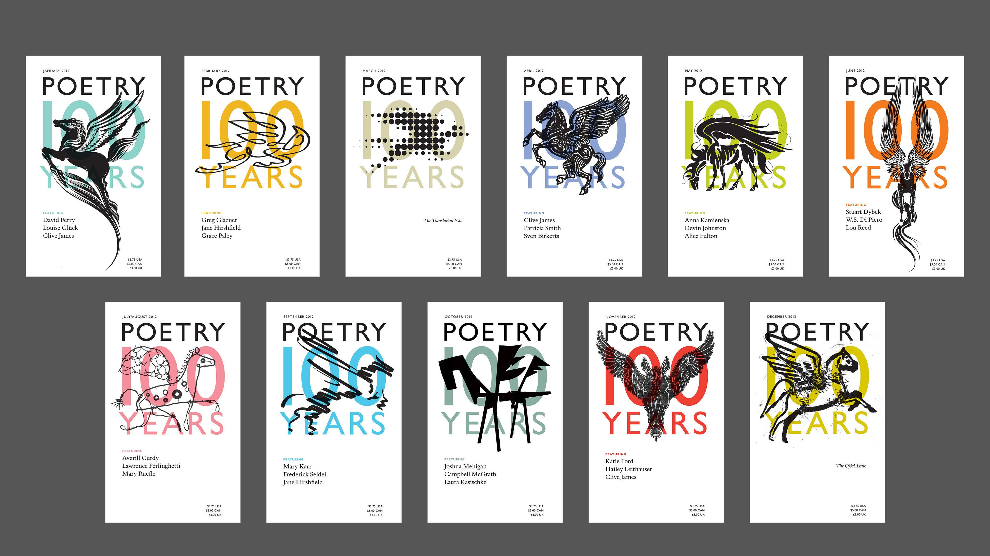Poetry magazine's 100th Anniversary cover designs